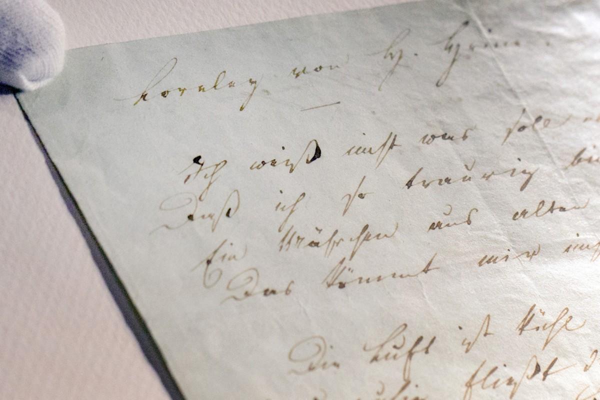 Loreley Auf Blassblauem Papier Heine Handschrift Kurz Zu