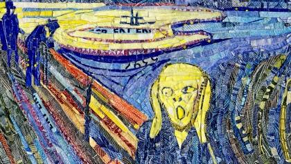 """""""Der Schrei"""" von Edvard Munch - nachempfunden und  aus geschreddertem Geld geklebt von der Dinslakener Künstlerin Larissa Schwarz."""