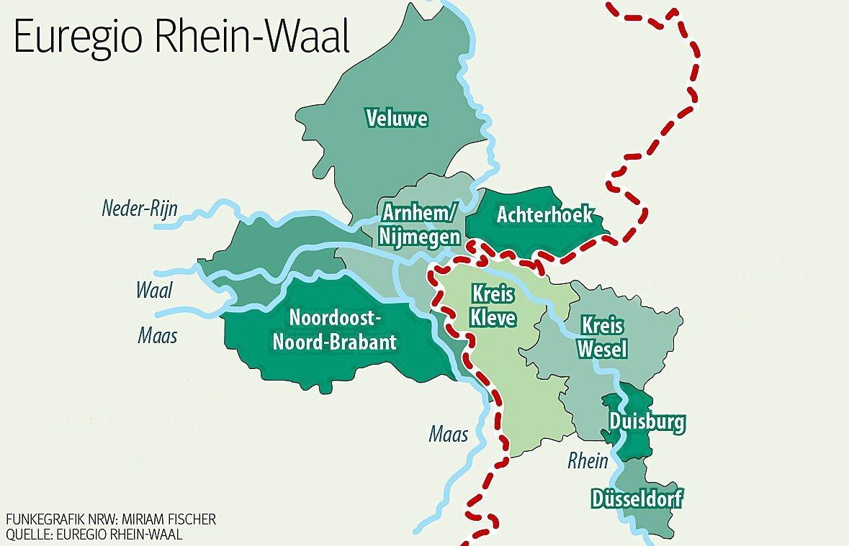 Das Gebiet der Euregio Rhein-Waal.